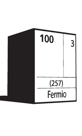 Fermio, line art element of periodic table Vector