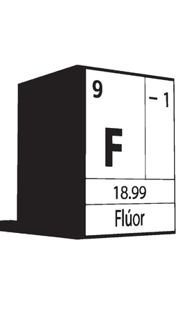 lanthanides: Fluor, line art element of periodic table Illustration
