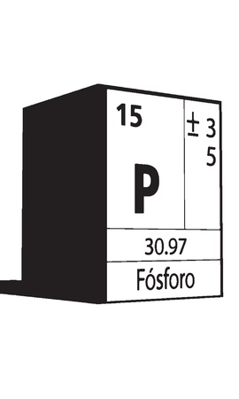 lanthanides: Fosforo, line art element of periodic table Illustration