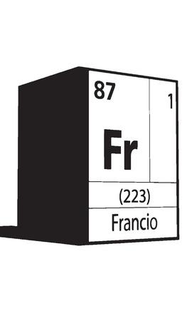 lanthanides: Francio, line art element of periodic table