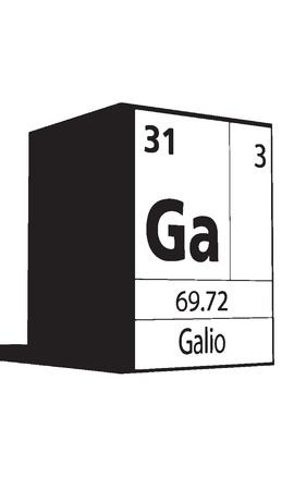 lanthanides: Galio, line art element of periodic table Illustration