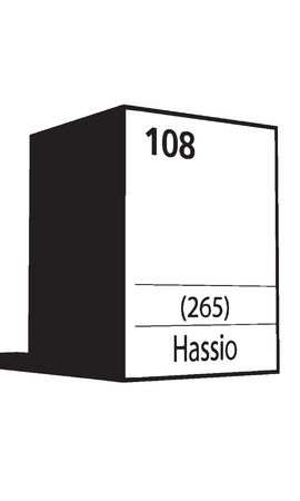 lanthanides: Hassio, line art element of periodic table Illustration