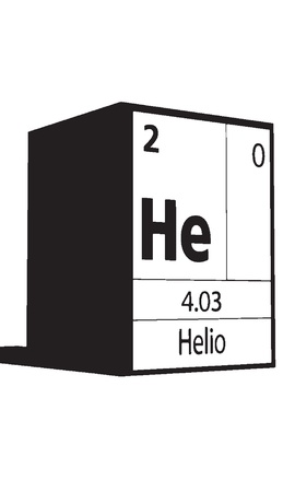 Helio, line art element of periodic table Ilustração