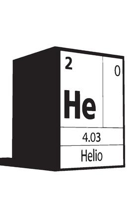 atomic symbol: Helio, line art element of periodic table Illustration