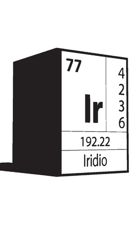 lanthanides: Iridio, line art element of periodic table