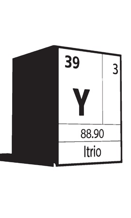 lanthanides: Itrio, line art element of periodic table Illustration