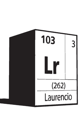lanthanides: Laurencio, line art element of periodic table Illustration