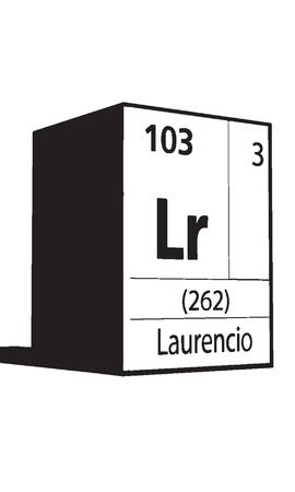 actinides: Laurencio, line art element of periodic table Illustration