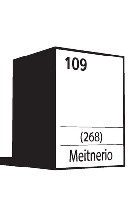 lanthanides: Meitnerio, line art element of periodic table