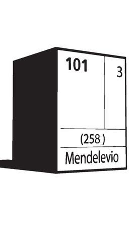 actinides: Mendelevo, line art element of periodic table