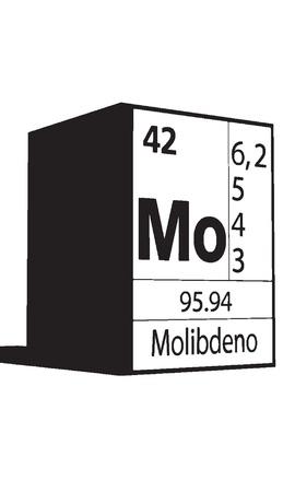 atomic symbol: Molibdeno, line art element of periodic table