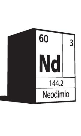 lanthanides: Neodimio, line art element of periodic table Illustration