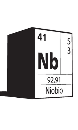 lanthanides: Niobio, line art element of periodic table