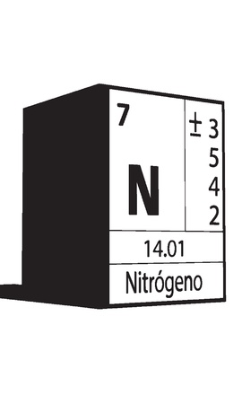 lanthanides: Nitrogeno, line art element of periodic table