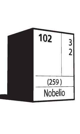 lanthanides: Nobelio, line art element of periodic table Illustration