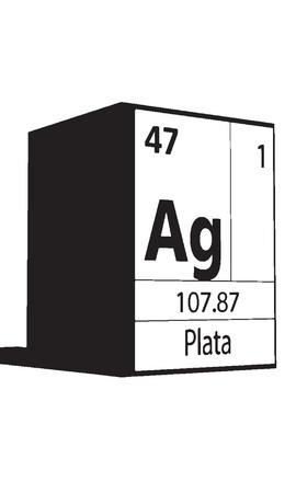 atomic symbol: Plata, line art element of periodic table