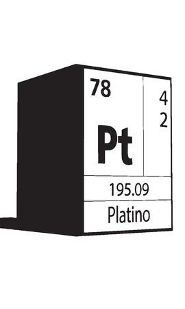 lanthanides: Platino, line art element of periodic table Illustration