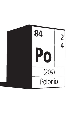 lanthanides: Polonio, line art element of periodic table