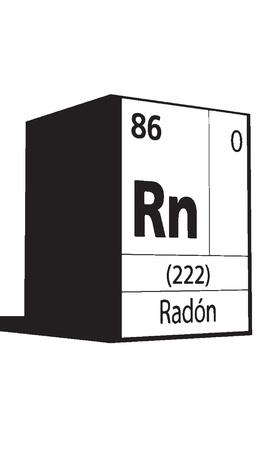 lanthanides: Radon, line art element of periodic table Illustration