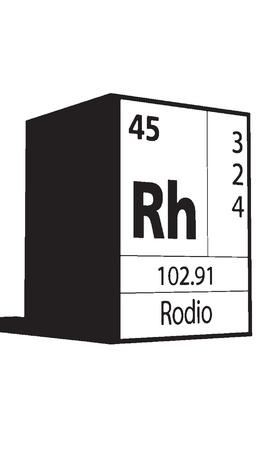 actinides: Rodio, line art element of periodic table