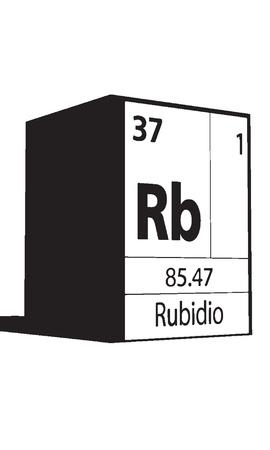 lanthanides: Rubidio, line art element of periodic table Illustration