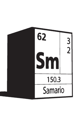 lanthanides: Samario, line art element of periodic table