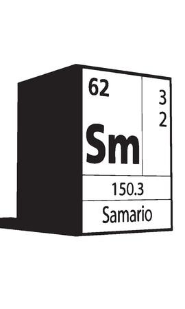 lanthanides: Samario, line art element of periodic table