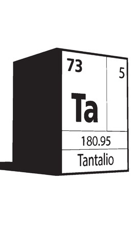 lanthanides: Tantalio, line art element of periodic table