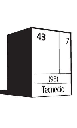 Tecnecio, line art element of periodic table Vector