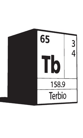 lanthanides: Terbio, line art element of periodic table Illustration