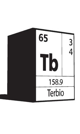 lanthanides: Terbio, line art element of periodic table Illustration