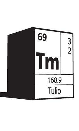 actinides: Tulio, line art element of periodic table Illustration