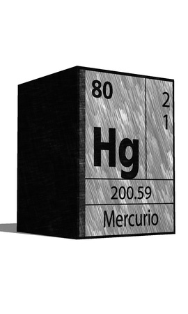 protons: Hg Chemical element of the periodic table with symbol Illustration