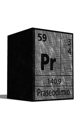 pr: Pr Chemical element of the periodic table with symbol Illustration