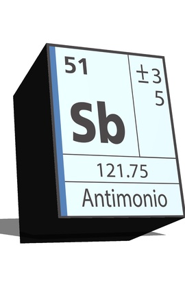 protons: Sb symbol chemical element of the periodic table Illustration