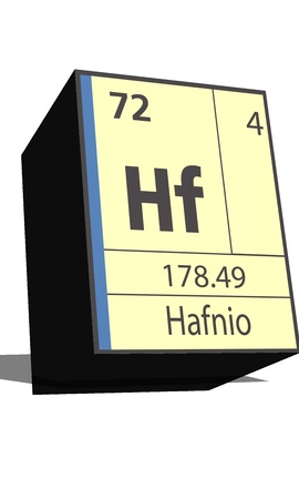 neutrons: Hf symbol chemical element of the periodic table Illustration