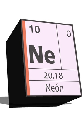 protons: Ne symbol chemical element of the periodic table Illustration