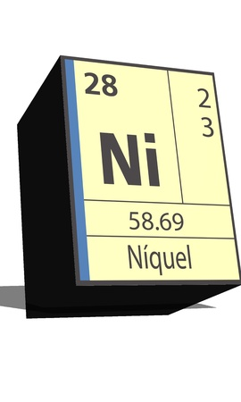 dissolved: Ni symbol chemical element of the periodic table Illustration