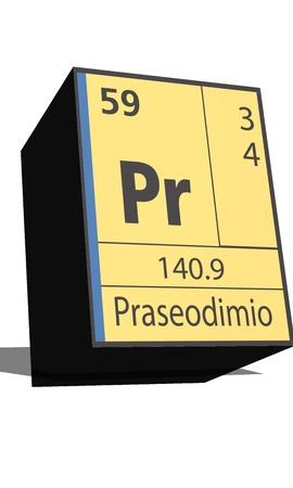 pr: Pr symbol chemical element of the periodic table Illustration