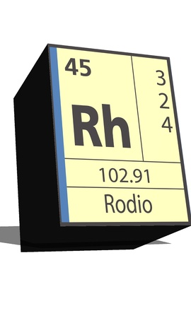 Rh symbol chemical element of the periodic table Illustration