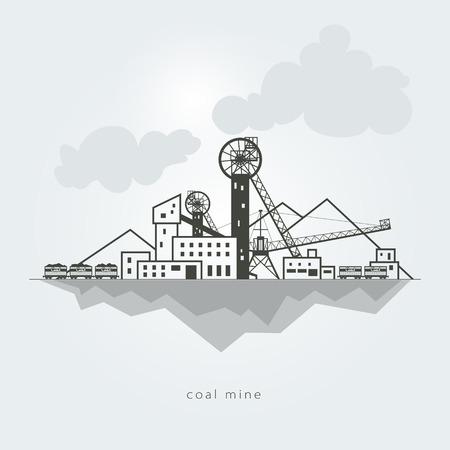 石炭鉱山廃棄物のヒープと鉄道車両