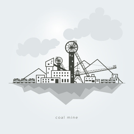 Coal mine with waste heaps and with rail cars Illustration