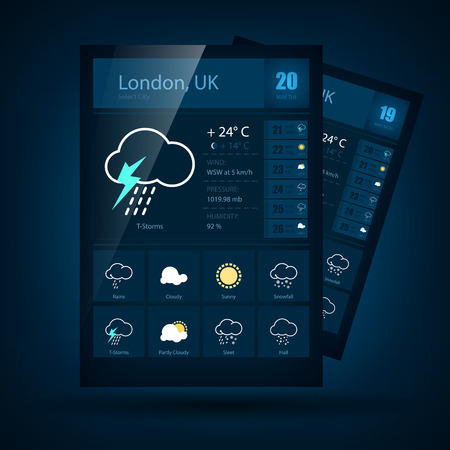weather symbols: Modern weather symbols and icons and interface design
