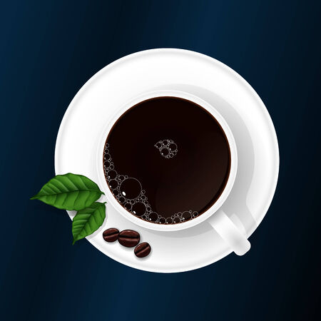 Cup with coffee with coffee grains and coffee sheets. Vector illustration Vector