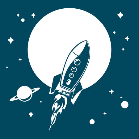 Space rocket flying in space with stars and planets. Vector