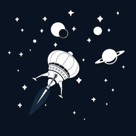 Space rocket flying in space with stars and Saturn Vector
