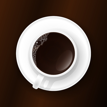 mocca: Cup of coffee with foam on the table. Vector illustration