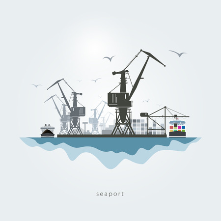 port: Seaport with cranes, the container carrier and the cargo ship Illustration