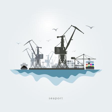 szállítás: Tengeri kikötő darukkal, a konténer szállító és a teherhajó Illusztráció