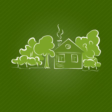 datcha: Petite maison rurale avec des arbres sur un fond vert